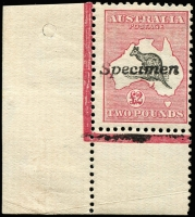 Lot 120:£2 Black & Rose corner single [L55] with 'Specimen' type A handstamp, BW #55x, adhesion in margin, mint, Cat $850.