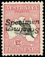 Lot 121 [1 of 2]:£2 Black & Rose 'Specimen' Handstamp doubled, one inverted, BW #55xb, mint, Cat $20.000. Ex Gray. One of two recorded examples