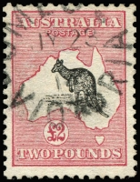 Lot 119 [1 of 2]:£2 Black & Rose, BW #55, fine used with nice Omeo cancel of JY23/14, Cat $6,000. RPSV certificate (2008) states that it is commercially used.
