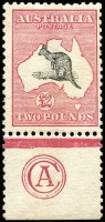 Lot 122:£2 Black & Rose CA Monogram single, BW #55z, rich original colour, MVLH, Cat $175,000. Ex McNess, Perry & Keeche. [An extremely important Kangaroo monogram being one of the only two known in private hands, the other has the selvedge rejoined. A third example is in the Australia Post archival collection.]