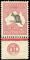 Lot 123:£2 Black & Rose JBC Monogram single, BW #55zb, rich original colour, MVLH, Cat $200,000. Ex Gray. [An exceptionally important Kangaroo monogram being the only example in private hands. A 2nd example is in the Australia Post archival collection, and a strip of 3 is in the Royal Collection.]