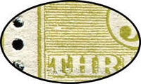 Lot 48 [2 of 2]:3d Olive Die II Plate 1 No Monogram left pane strip of 3 with White flaw over 'T' of 'THREE', BW #12(1)z,bd, fresh MUH, Cat $10,000.