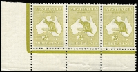 Lot 48 [1 of 2]:3d Olive Die II Plate 1 No Monogram left pane strip of 3 with White flaw over 'T' of 'THREE', BW #12(1)z,bd, fresh MUH, Cat $10,000.