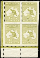 Lot 47:3d Olive Die I Plate 2 bottom left corner block of 4, lower units Imperforate on 3 sides from bottom of sheet, BW #12be (SG 5a, cat £75,000), one top unit hinged, Cat $95,000. Ex Abramovich, Nelson & Baillie. Only eight recorded stamps.
