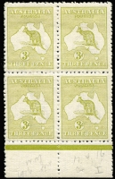 Lot 45:3d Olive Die I Wmk inverted marginal block of 4, BW #12a, minor perf separation, top units hinge rems, lower units MUH, Cat $3,200+