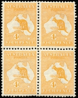 Lot 54 [1 of 3]:4d Orange Plate 1 with White scratch from G of POSTAGE to map in block of 4, BW #15(1)h, lower units MUH, light Offset, Cat $2,875+.