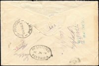 Lot 53 [2 of 2]:4d Orange Perf Large 'OS', BW #15ba, solo franking on 1914 (Jun 12) Perth Land Titles Dept registered local cover (smaller), unclaimed with appropriate instructional markings, flap missing, otherwise good condition, Cat $250 (on cover).