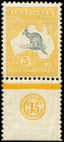 Lot 103:5/- Grey & Yellow JBC Monogram single, BW #42(2)zc, MVLH, Cat $35,000. Five mint single monograms recorded.