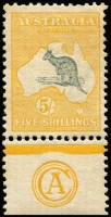 Lot 268:5/- Grey & Yellow CA Monogram single, BW #42(2)za, lightly aged gum, weak perfs, Cat $40,000. The only mint single monogram recorded.
