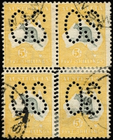 Lot 101:5/- Grey & Yellow perf large 'OS' block of 4 lower units with Double perforations, BW #42b,ba, small stain some perfs re-inforced, Cat $6,000+. RPSV certificate (1999). An impressive block.