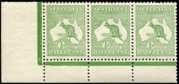 Lot 5:½d Green Plate 1 No Monogram left pane strip of 3, 
