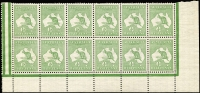 Lot 7:½d Green Plate 1 No Monogram right pane block of 