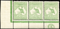 Lot 9:½d Green Plate 2 CA Monogram left pane strip of 3 