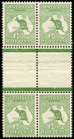 Lot 3:½d Green Intersheet Block of 4, BW #1c, usual 
