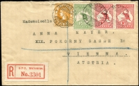 Lot 2:½d Green plus 1d Roo x2 + Victoria 3d orange on 