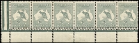 Lot 125:2d Grey Plate 1 No Monogram right pane strip of 6 with Double perforations, BW #6b(1)za, fresh mint, Cat $17,500+ as normal mounted strip of 3. [Two 'OS' blocks of 18 with Double perfs on the bottom recorded. This multiple is not recorded.]