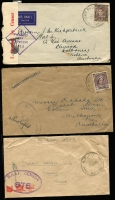 Lot 885 [2 of 10]:1940-55 range of covers, some duplication as to be expected and condition is quite mixed. Noted 1942 Air Courier Service cover from FPO 0142 (WA) to Melbourne, violet APO 058 (Qld) to Melbourne, Mil. PO Foster No 1, Vic rated 3R to Melbourne. Useful lot. (100+)