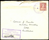 Lot 885 [4 of 10]:1940-55 range of covers, some duplication as to be expected and condition is quite mixed. Noted 1942 Air Courier Service cover from FPO 0142 (WA) to Melbourne, violet APO 058 (Qld) to Melbourne, Mil. PO Foster No 1, Vic rated 3R to Melbourne. Useful lot. (100+)