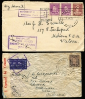 Lot 885 [6 of 10]:1940-55 range of covers, some duplication as to be expected and condition is quite mixed. Noted 1942 Air Courier Service cover from FPO 0142 (WA) to Melbourne, violet APO 058 (Qld) to Melbourne, Mil. PO Foster No 1, Vic rated 3R to Melbourne. Useful lot. (100+)