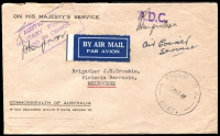 Lot 885 [1 of 10]:1940-55 range of covers, some duplication as to be expected and condition is quite mixed. Noted 1942 Air Courier Service cover from FPO 0142 (WA) to Melbourne, violet APO 058 (Qld) to Melbourne, Mil. PO Foster No 1, Vic rated 3R to Melbourne. Useful lot. (100+)