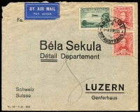 Lot 840:1930 (Nov 14) air cover to Switzerland with 3d Air Booklet stamp & 1½d Sturt pair (odd fault).