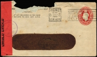 Lot 757:1941-50 2½d Red KGVI Oval 1949 (Mar 15) use of PTPO window envelope BW #ES86 to Israel cancelled with Sydney slogan datestamp, Israeli civil censor tape and handstamp in violet, cover damaged at top. Unusual.