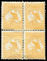 Lot 10:4d Orange rejoined block of 4 [1R47-48,53-54], 