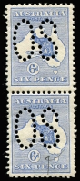 Lot 44:6d Blue Perf Large 'OS' pair, BW #17bb, bottom unit has pen mark on face otherwise fine MUH, Cat $2,000.