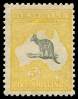 Lot 133 [1 of 2]:5/- Grey & Yellow variety Spencer's Gulf short [R5] BW #45(D)j, MUH, Cat $1,750 normal MUH. Ceremuga certificate (2010) for MUH, variety not mentioned.