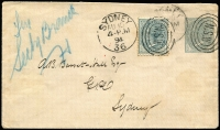Lot 667 [2 of 4]:1888-98 Selection Unused 2d blue DLR, 1d Arms & used 2d Emu; PTPO, 1888 1d violet on blue, 1d+1d violet on John Robertson & Son whiskey advertising cover, both unused, 1894 ½d grey uprated with ½d grey adhesive & 1899 ½d dark green, both to City. (7)