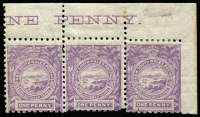 Lot 1150:1888-89 Centenary Wmk NSW 1d lilac top right corner strip of 3, SG #259 with part marginal inscription, SG #259, error, right unit with No wmk, mint, very scarce, Cat £210++.