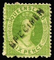 Lot 1205 [1 of 3]:1868-74 Small Chalon Wmk Truncated Star Perf 13 2d blue & 4d yellow-green on thick paper, both with doubled 'SPECIMEN' opt. Plus 6d yellow-green Wmk Crown/Q with inverted 'SPECIMEN' opt. (3)