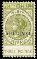 Lot 707:1886-96 'POSTAGE & REVENUE' £3 sage-green P10 with 18½mm 'SPECIMEN' ovpt, SG #202s. This is the only Specimen ovpt described by Williams, as being very rare.