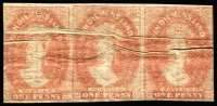 Lot 3356:1857-69 Imperf Chalon Wmk Double-Lined Numeral 1d dull vermilion SG #28 strip of 3, dramatic Pre-printing creases, margins just cut-into/touching at left & at right, good to large margins at top and at base, full og, Cat £975+.