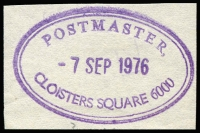 Lot 14742 [3 of 4]:Rubber Stamps: mainly on piece, 1980 Postmaster Brisbane St, 1976 Postmaster Cloisters Square, 1909 Dead Letter Office, 1956 Postmaster Esperance, 1908 Perth Post Restante, 1907 Perth Registered (inv dateline), 1900 Perth Registered Letter, 1947 Post & Telegraph Office Reedy, 1979 Postmaster St Georges Terrace. All good quality strikes. (9)