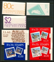 Lot 719 [5 of 6]:Mainly Decimal Selection with 3d red KGVI block of 18 from booklet pane sheet, early decimal booklets x10 and later booklets x7. Plus $3.90 x3, $4.10 & $4.30 with cancelled panes. (33 items)