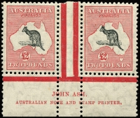 Lot 995 [1 of 2]:£2 Grey-Black & Rose-Crimson Ash Imprint pair with variety Open-mouthed kangaroo, BW #58za, MUH, Cat $25,000 for hinged.