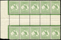 Lot 4:½d Green Intersheet Block of 10 with Wmk inverted, 