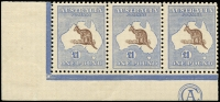 Lot 234:£1 Chocolate & Dull Blue CA Monogram strip of 3, BW #52z, fresh MVLH, Cat $200,000. Ex Kilfoyle, Abromavich, Perry & Keeche. An exceptional item. The only strip of 3 of any of the pound values in private hands.