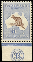 Lot 235:£1 Chocolate & Dull Blue JBC Monogram single, BW #52zb, fresh MVLH, Cat $100,000. The only example in private hands with an upright wmk.