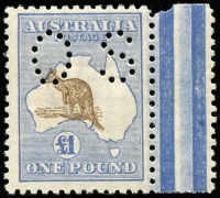 Lot 233 [1 of 2]:£1 Chocolate & Dull Blue Perf 'OS' marginal single with Broken tail on kangaroo [L12] also the kangaroo is misplaced to the left with the ear just outside the map, BW #52b(V)e (SG #O52, cat £11,000+), fresh MUH, Cat $25,000+ for normal stamp perf 'OS'. Ceremuga certificate (2006).