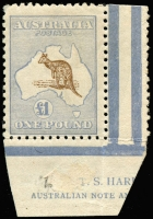 Lot 237:£1 Chocolate & Milky Blue Harrison Imprint single. The rarest of all imprints, with only one block of 4 (cat $325,000) and this single in private hands.