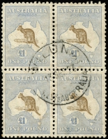 Lot 238 [1 of 4]:£1 Chocolate & Milky Blue block of 4 [R41-42,47-48], catalogue varieties on unit 41 Broken coast in Bight and unit 48 Break in value circle at lower left, distinct uncatalogued variety on units 47 Damaged left ear, BW #52(D)r,s, some marks on back, fresh postal use, Cat $12,000++. Thought to be the largest commercially used multiple in existance. An amazing block only ever sold once, in 2004, prior to that it had been in a family collection for three generations.