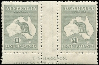 Lot 241 [1 of 2]:£1 Grey Harrison imprint pair, BW #53za, trimmed margin, as usual, but showing 90% of the 2nd line, the retouches on both units are not apparent, Cat $6,000 for trimmed margin.