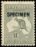Lot 240 [1 of 2]:£1 Grey with 'SPECIMEN' type B ovpt, with Part 2nd light overprint, MUH, Cat $8,500+. Only 600 issued. Particularly unusual with the uncatalogued Double overprint.
