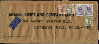 Lot 239:£1 Grey plus 6d Large Kooka, 1/- Large Lyrebird and 2/- Jubilee pair on 1935 (Jun 25) air cover from Brisbane to London. £1/5/6d is the rate for 8-8½ozs. The £1 is recorded on only a small number of similar covers
