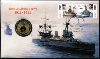 Lot 3344:2011 RAN Centenary 60c pair on FDC with $1 Navy Centenary coin, cancelled 'FIRST DAY OF ISSUE 14 JUNE 2011/1911 2011/HMAS CERBERUS VIC 3920' with limited edition gold APTA overprint for Brisbane show 1st-2nd Oct 2011 number 150/150.