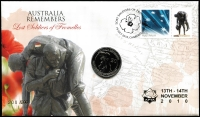 Lot 3345:2018 Lost Soldiers of Fromelles 60c on FDC with 20c Fromelles coin, cancelled 'LOST SOLDIERS OF FROMELLES/19JULY 2010, CANBERRA 2600' with limited edition gold APTA overprint for show 13th-14th Nov 2010 number 200/200.