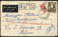 Lot 615 [1 of 2]:1951 (Aug 8) use of 2/- and unofficially bisected 3d Parkes on registered air letter from Griffith, NSW to Italy. The rate was 2/2½d and presumably the bisect was used to represent 2½d instead of 2d. Untaxed. Quite unusual.