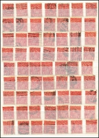 Lot 163 [1 of 8]:1d Red used selection, includes 'OS' & 'OS/NSW' (97), LM Wmk x 50, inc 'OS' x14, Wmk inverted x21, line perf x1 & Die II x1, range of pairs and multiples, few varieties. (350+)